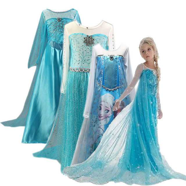 Cosplay Queen Elsa Elsa Elza Costumes Vestido Princess Dress For Girls Party Christmas Vestidos Fancy Wedding Kids Girls Dresses