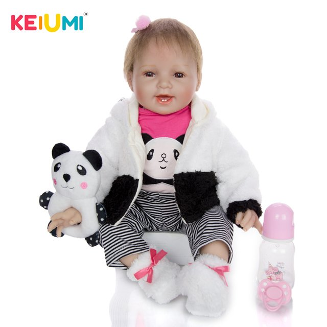 Cute 22 Inch 55 cm Newborn Doll With Soft Silicone Vinyl Girl Toy Lifelike Reborn Baby Doll Cloth Body For Kids Christmas Gifts