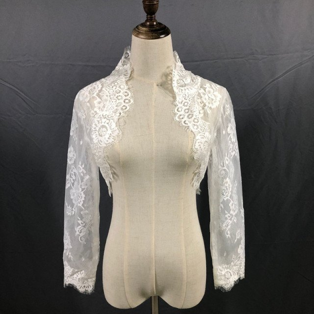 Real Image New Wedding Jackets front Open Long Sleeve White Ivory Bolero Cap Jackets Sheer Custom Made Bridal Accessories Jacket