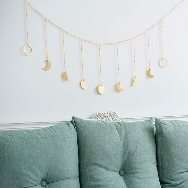 Metal/Wooden Round Piece Sun Moon Shape Hanging Decoration Photo Wall Hanging Decoration
