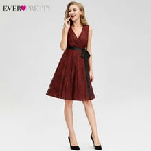 Red Short Cocktail Dresses Ever Pretty A-Line V-Neck Sleeveless Bow Sashes Mini Dress Sexy Lace Party Gowns Vestido Cocktail