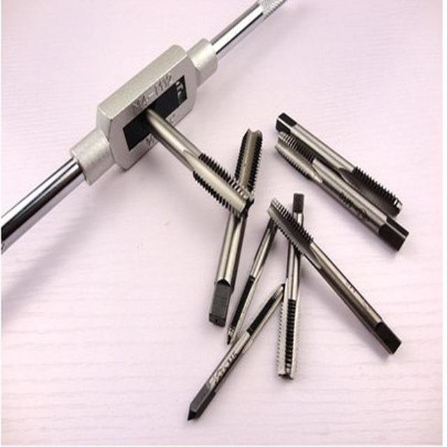 Free shipping of screw taps& tap wrench Holder Hand hinge set with 7PCS M3-M12 manual taps and 1pc M3-M12 wrench