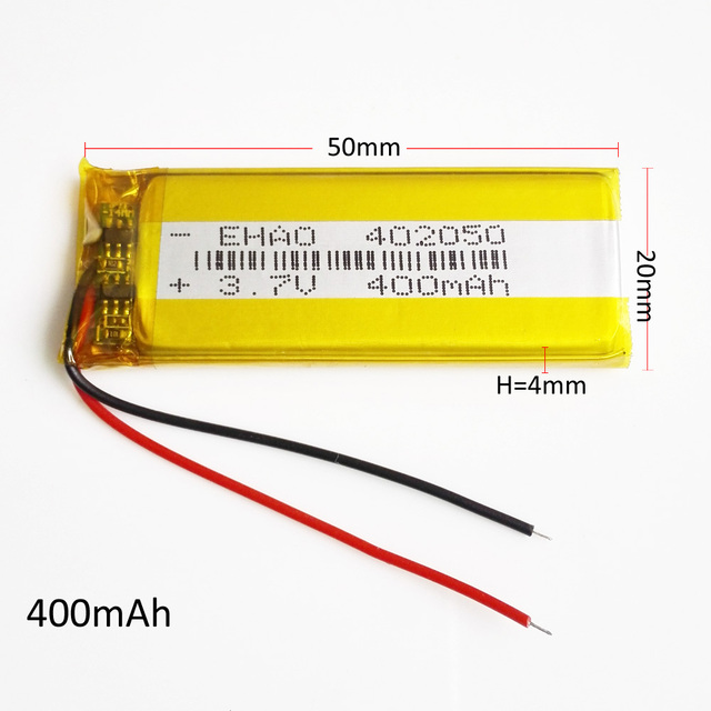 EHAO 402050 3.7V 400mAh battery Lithium Polymer LiPo Rechargeable Battery Power For Mp3 MP4 MP5 GPS PSP mobile electronic part