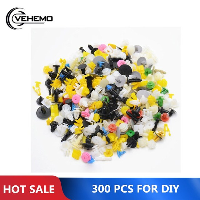 Vehemo for Rivet Fasteners 300PCS Car Bumper Clips Auto Fastener Vehicle Screwdriver Durable Door Panel Push Pin Car Accessories