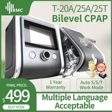 BMC GII BPAP T-20A/25A/25T Bilevel CPAP Therapy Apnea COPD With Fingertip Pulse Oximeter SpO2 kit Full Face Mask Hose Humidifier