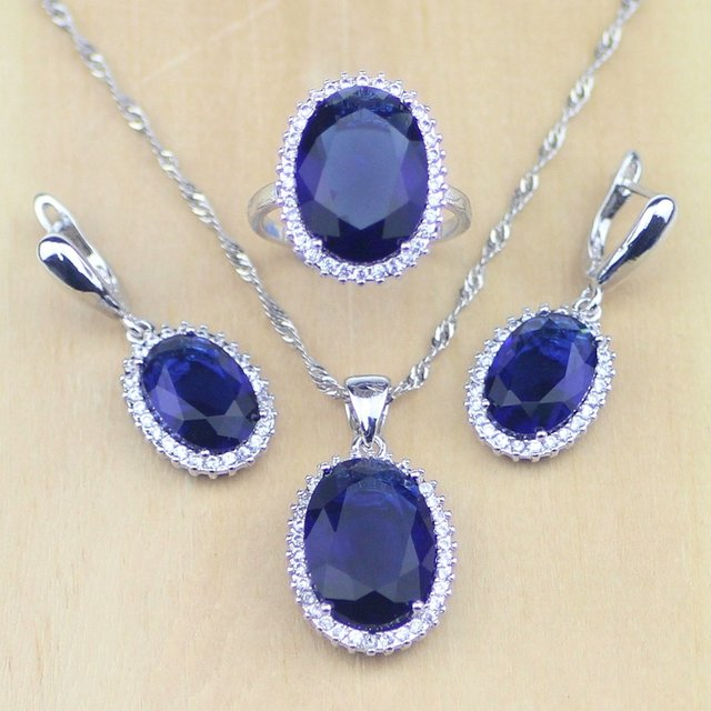 925 Sterling Silver Jewelry Blue Cubic Zirconia White CZ Jewelry Sets For Women Wedding Earrings/Pendant/Necklace/Rings