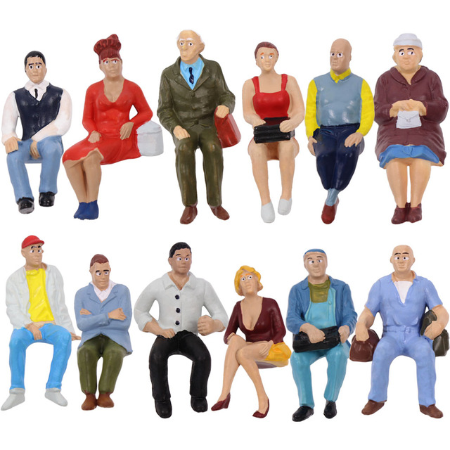 12pcs/24pcs G scale Model Figures 1:22.5-1:25 All Seated  Painted People Model Railway P2509