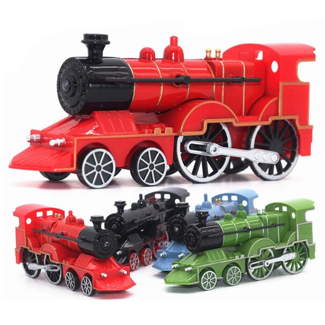 1/55 Diecast Retro Train Locomotive Pull Back Car Model with LED Music Kids Toy LED Musical Toys For Children Birthday Gifts