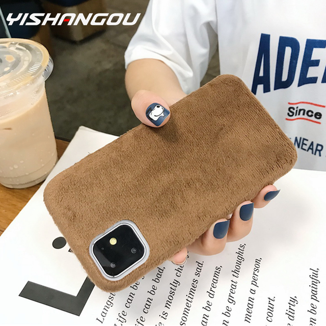 YISHANGOU Luxury Fluffy Furry Plush Fur Mobile Phone Case For iPhone 6 6s 7 8 Plus X XR XS Max Smart Covers For iPhone 11 Pro