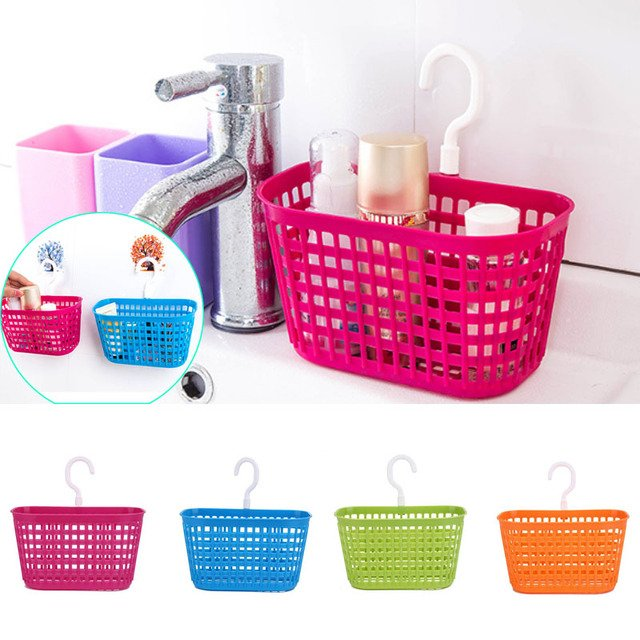 Home Kitchen Bathroom Desktop Plastic Storage Hanging Baskets Seasoning Space Saver Home Storage Organization Storage Baskets