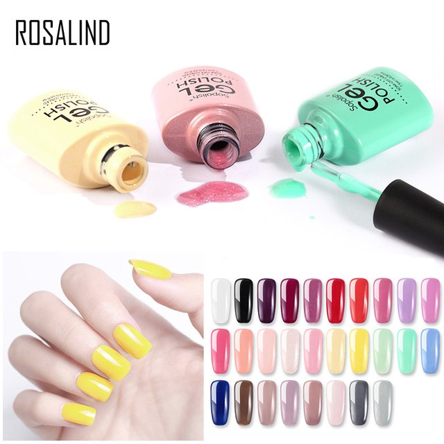 ROSALIND UV Nail Gel Polish Base Top Coat Hybrid Varnish 7.5ML Color Nail Polish Manicure Soak Off Gel Lacquer Semi Permanent
