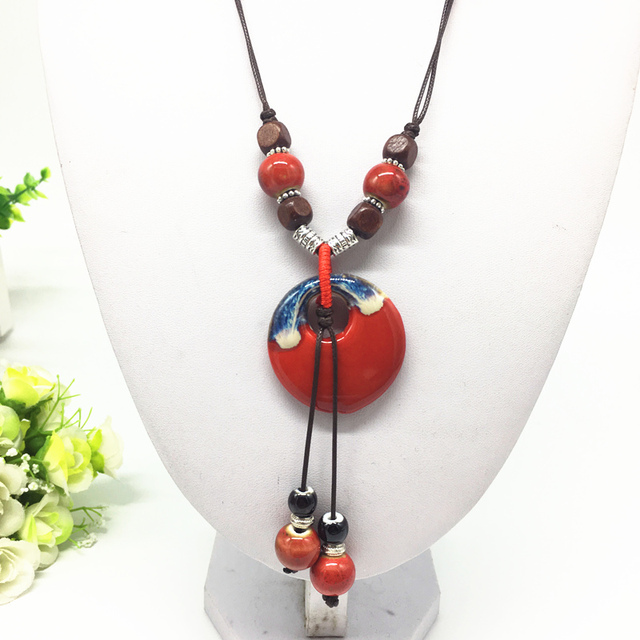 Fashion Ceramics Beads Pendant Ethnic Long Necklace Chain Blue/Red Jewelry Style DIY #01