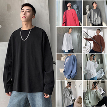 Cotton Long-sleeved T Shirt Men's Fashion Solid Color Casual O-neck T-shirt Men Streetwear Loose Hip Hop Tshirt Mens Tops M-XL
