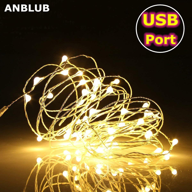 5M 10M USB Powered LED String lights Silver Wire Fairy Garland New Year Decor Wedding Christmas Decoration for Home Room