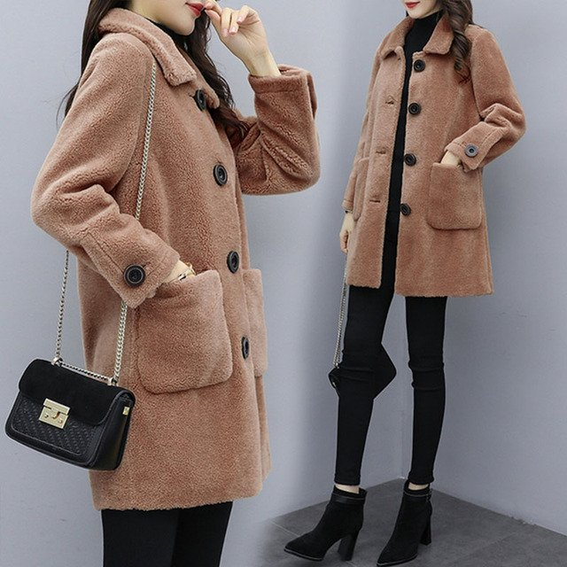 WYWAN Plus size 2020 Women's Casual Coat Mid-Long trench Coat for fashion Women trench coat winter spring coats ladies overcoat