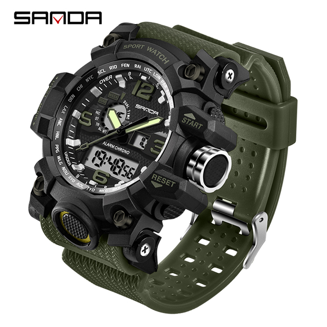 SANDA 742 Military Men's Watches Top Brand Luxury Waterproof Sport Watch Men S Shock Quartz Watches Clock Relogio Masculino 2019