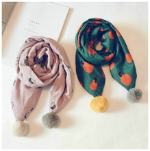 Kids Children Child Scarf Shawl Boys Girls Winter Warm Cotton Fashion Brand Pattern Pompom Thick Soft Korean Accessories-LHC-W6
