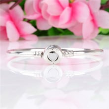 Free Shipping Authentic 925 Sterling Silver love Heart Bangle Fit European Charms Original Bracelet For Women DIY Jewelry
