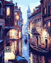 PAINTBOY Framed Venice Landscape DIY Painting By Numbers Painting Wall Pictures Digital Canvas Oil Painting Home Decoration