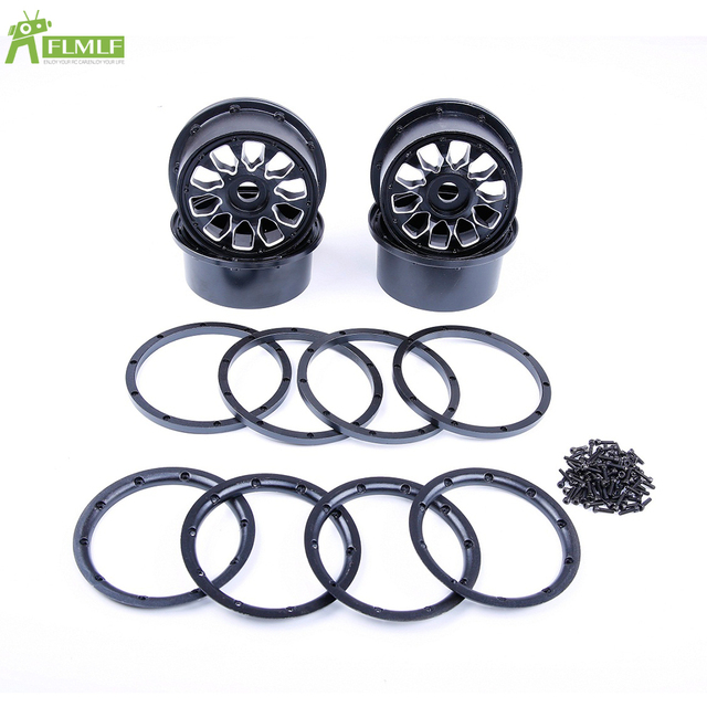 Alloy CNC Front Rear Wheels Hub Kit with Beadlocks Ring Set Fit for 1/5 HPI ROFUN ROVAN KM BAJA 5B SS 5T RC CAR Toys PARTS