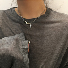2020 Punk Style Silver Color Men's Cross Choker Retro Short Chain Sweater Chain Simple Simple Casual Pendant Necklace Jewelry