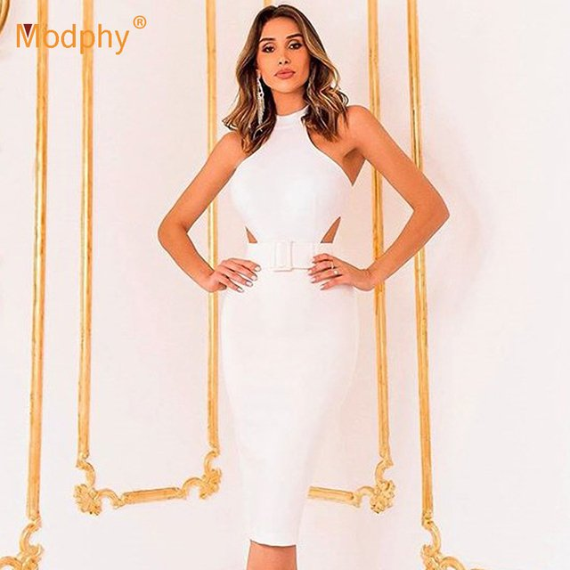 2020 Summer Fashion New Rayon Bandage Dress White Sexy Sleeveless Hollow Bodycon Dress Club Celebrity Evening Party Vestidos