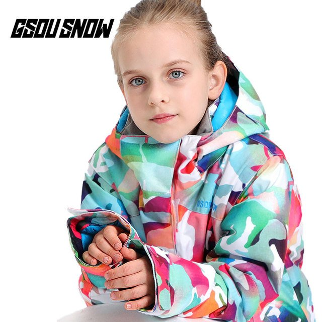 GSOU SNOW Kids Ski Jacket Waterproof Winter Camouflage Girls Warm Breathable Snowboard Jacket Children Outdoor Sports Clothing