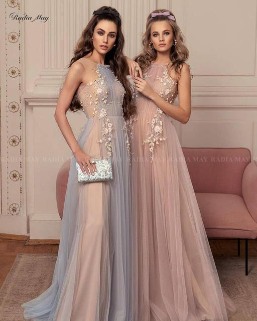 Elegant 3D Flowers Blue Champagne Evening Dress 2021 Long Special Occasion Dresses Women A-line Tulle Arabic Formal Prom Gowns