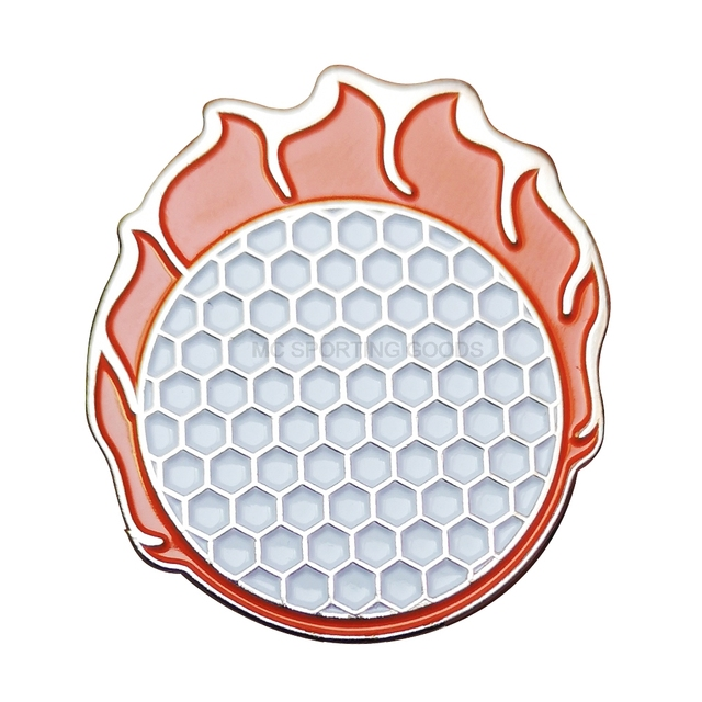 1pcs fire ball golf ball marker with magnetic cap clips for golfer alloy mark Lovely New orange hat mark wholesale