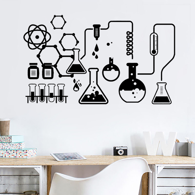 Science Chemical Lab Vinyl Art Wall Decals Scientist Office Chemistry School Wall Stickers for Room Decoration Accessories Z300