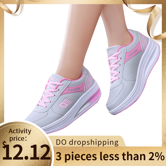 Running shoes Woman Sports Shoes Breathable Lace-Up Stability Rubber Sneakers Heightening Soft Sneakers zapatos de mujer