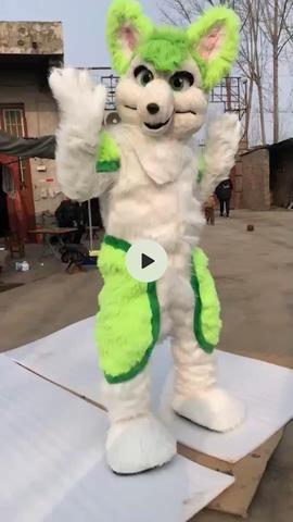 Blue Long Fur Bear Mascot Costume Cosplay Outfit  Furry Suits Party Game Dress