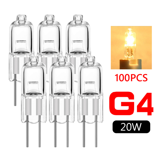 TSLEEN 100 Pieces High Luminous G4 Tungsten Halogen Warm White 12V 20 Watt Lamp Light Blubs JC Type Super Bright Indoor Clear