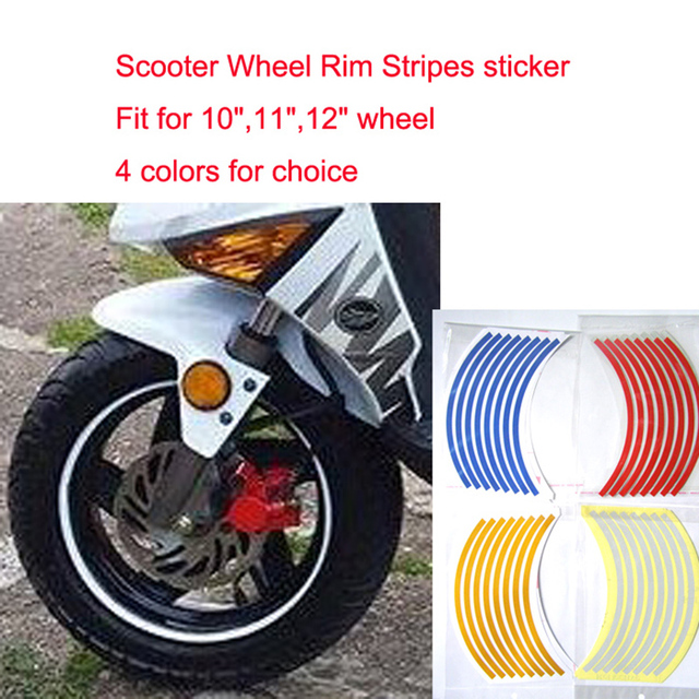 """Universal  Motorcycle  wheel rim sticker Reflective Stickers for MotoBicycle Decal 10""""/11""""/12""""Waterproof Stripe Tape Scooter"""