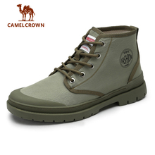 CAMEL Men Military Boots Fashion Canvas High Top Shoes Men Casual Shoes Ankle Boots Green Chelsea Boots