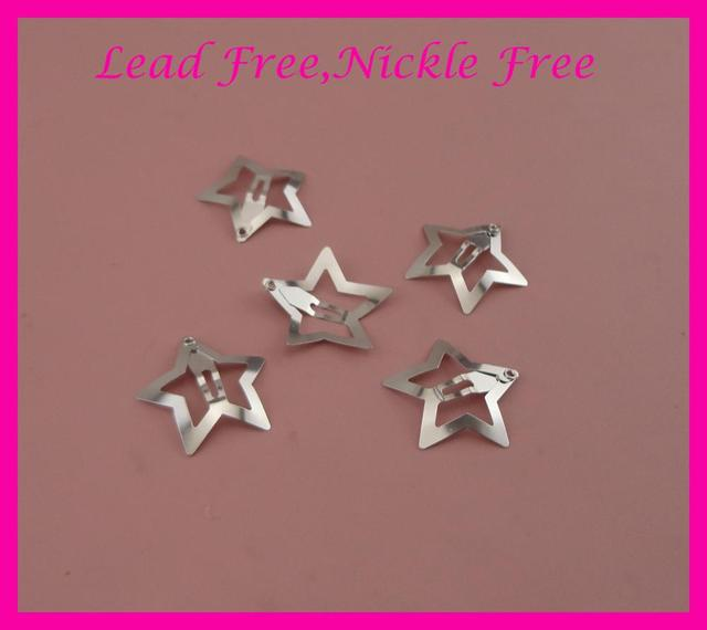50PCS 3.0cm Sliver Plain Filigree Star Metal Snap hair Clips for girls nickle free Lead free,womens Star hairpins Hair jewelry