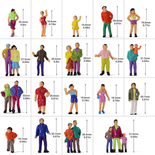 100pcs HO Scale Painted Figures People Model Scale 1:87 Model Train Passengers Assorted Pose