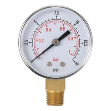 "0~15PSI 0~1Bar Air Compressor Gauge 1/4"" BSPT Hydraulic Compressed Air Pressure Gauge Tester Double Scale Measurer For Fuel Oil"