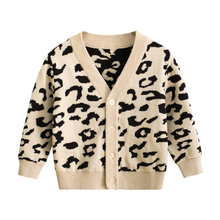 CALOFE Kids Leopard Sweater Children Boy Girl Autumn Winter Knitted Cardigan Sweater Coat New Toddler Jacket Outerwear Clothes