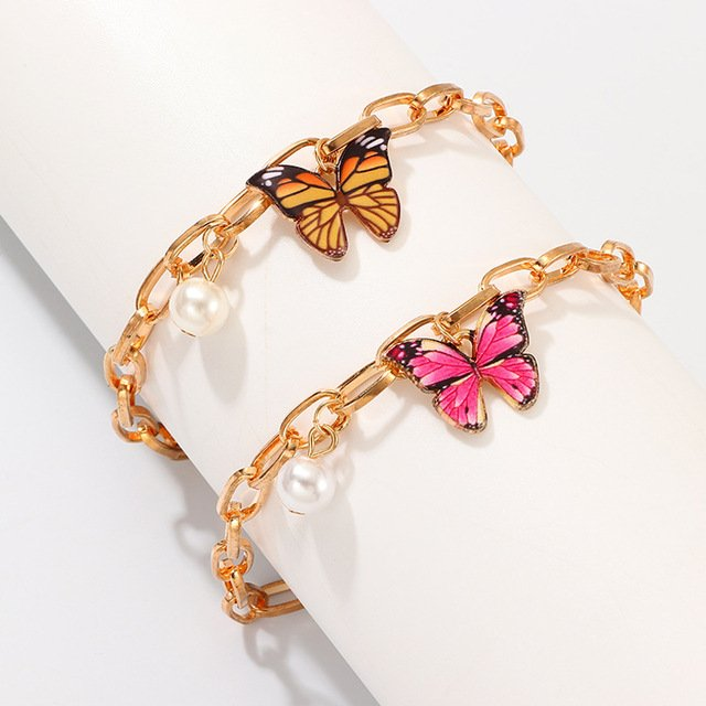 New Gold Color Chain Charms Bracelets Girl Lovely Butterfly Animal Pendant Dangle Bracelets Fashion Bohemian Party Gifts Jewelry