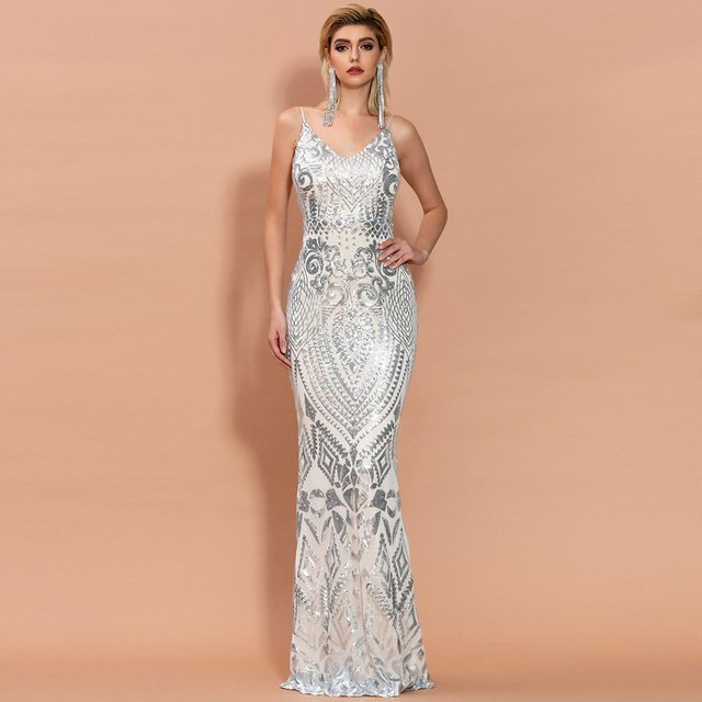Missord 2020 Women Sexy Off Shoulder Sequin Dresses Female Backless Maxi Elegant Party Reflective Dress Vestdios FT9314