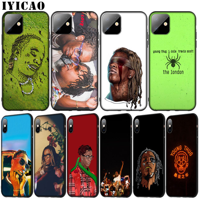 Young Thug Soft Silicone Cover Case for iPhone 11 Pro XR X XS Max 6 6S 7 8 Plus 5 5S SE Black Phone Case