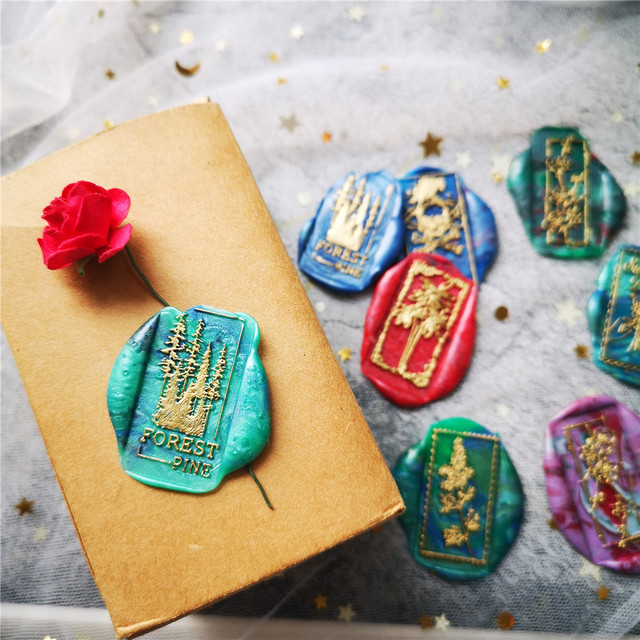 Kapok cotton skull leaf plum forest plant brass Square Stamp Antique Sealing Wax Stamps Wedding Invitations Wax Seal Stamp