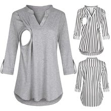 2020 Women Maternity Long Sleeve Clothes Striped V neck  Nursing Tops Blouse For Breastfeeding solid clothing for pregnant