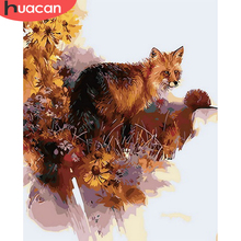 HUACAN Animal Pictures By Number Fox Handpainted Wall Art Painting By Number Drawing Canvas Acrylic Gift Home Decor