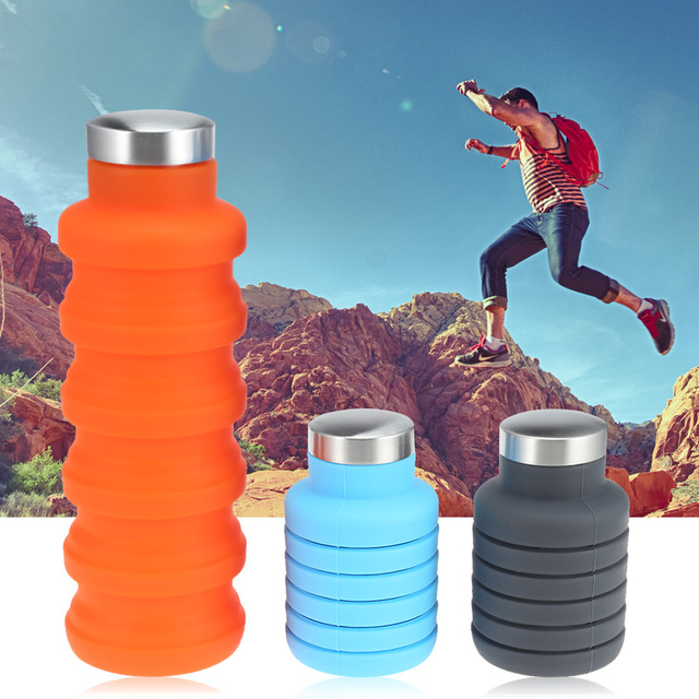 Retractable Silicone Sports Water Bottle Portable Folding Coffee Bottle Outdoor Travel Drinking Collapsible Sport Drink Kettle