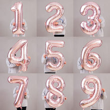 40-Inch American Style with Numbers Aluminum Film Balloon Rose Gold 0-9 Thin Large with Numbers Aluminum Foil Balloon Birthday W