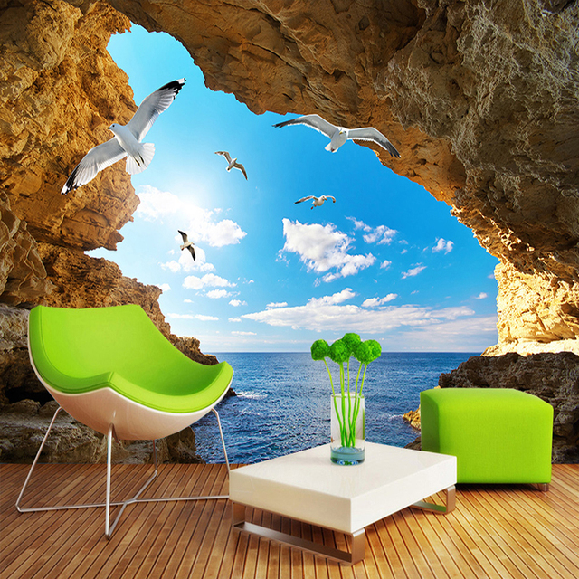 Custom Photo Mural Wall Paper 3D Sea Island Cave Blue Sky White Clouds Seagulls Large Murals Wallpaper Living Room Bedroom Decor