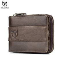 BULLCAPTAIN leather wallet casual change driver's license multi-function card men's wallet