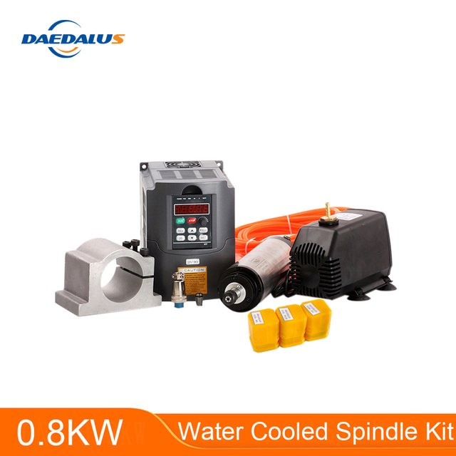 CNC Spindle 0.8KW Water Cooled Spindle Motor + 1.5KW 220V VFD Inverter +65mm Clamp +75W 3.2M Water Pump 3pcs ER11 Collet Chuck